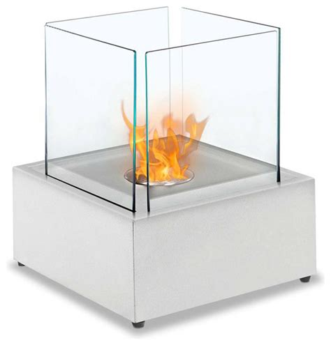 sevilla table top ethanol fireplace white modern