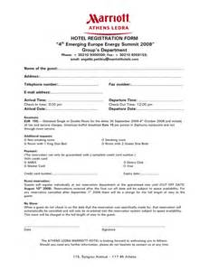 hotel registration form template resources customer service