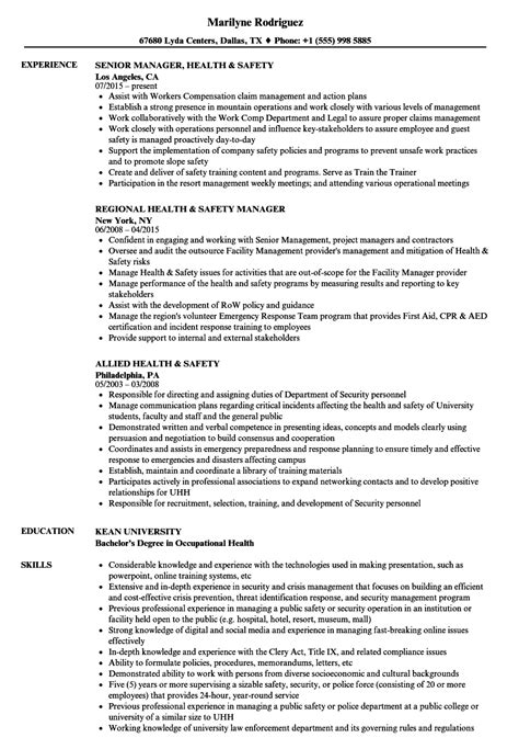Occupational Safety Resume by Occupational Health And Safety Resume Exles