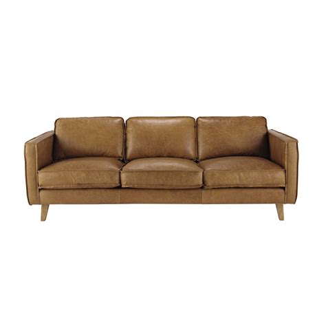 3 seater leather vintage sofa in camel maisons