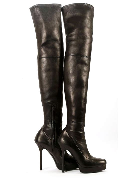 gucci black leather thigh high boots 38 ebay