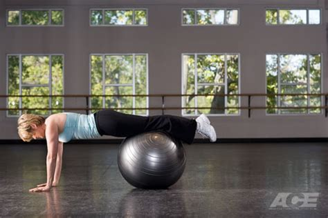 ace fit ab exercises stability ball prone walkout