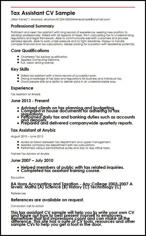 tax assistant cv sle myperfectcv