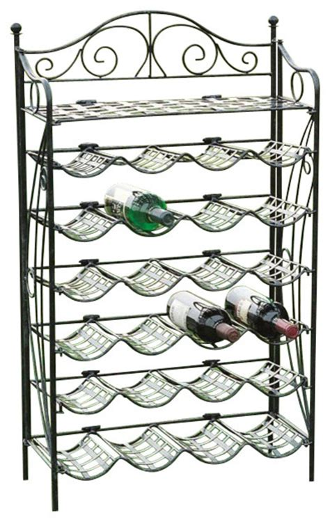 Black Wrought Iron Wine Rack by International Caravan Mandalay 24 Bottle Wrought Iron Wine