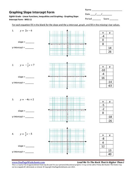 Slope Worksheet Pdf by Eighth Grade Graphing Slope Intercept Form Worksheet 11