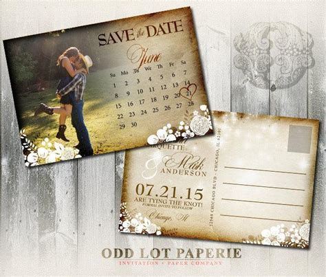 printable postcard calendar invitation printable rustic save the date postcard