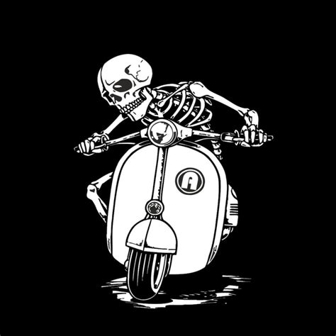 design t shirt vespa skeleton on vespa scooter