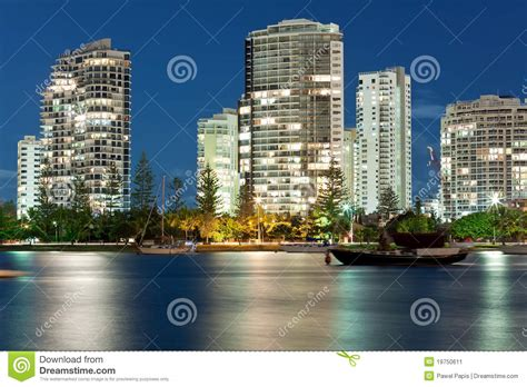 boat building gold coast modern city at night miami beach gold coast stock image