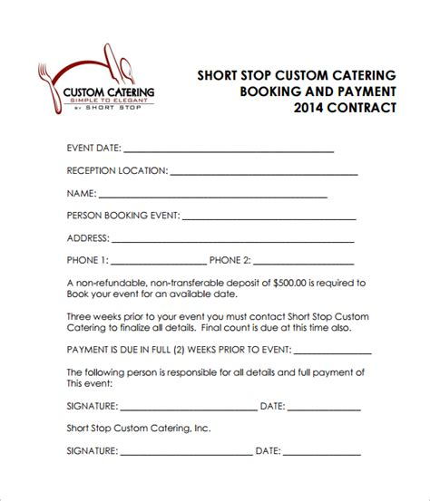 sle catering contract template catering contract template 13 free documents