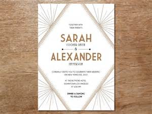 wedding invitation template art deco