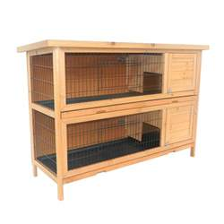 Guinea Pigs Hutch Pawhut 2 Story Stacked Wooden Outdoor Bunny Rabbit Hutch
