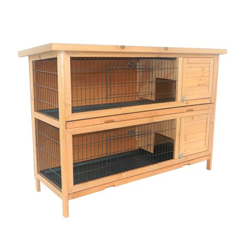 Bunny Hutch Pawhut 2 Story Stacked Wooden Outdoor Bunny Rabbit Hutch