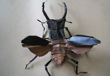 Origami Stag Beetle - origami pink
