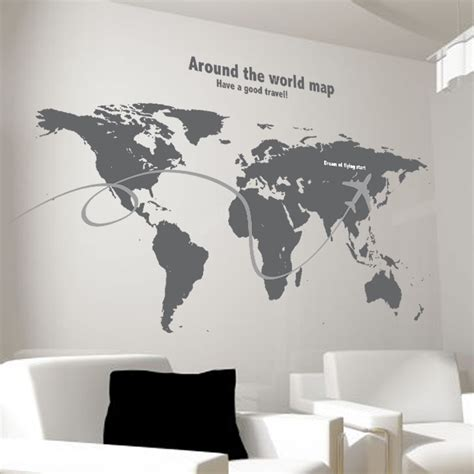 Wall Sticker World Map continental map solid blue living room bedroom wall