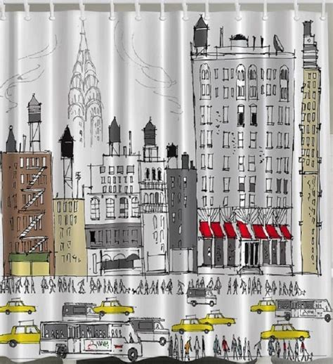 new york bathroom decor nyc yellow cab fabric shower curtain bus new york drawing skyline bathroom decor ebay