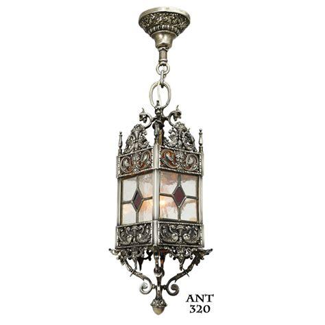 Antique Lantern Light Fixture Antique Stained And Leaded Glass Lantern Light Fixture Ant 320 For Sale
