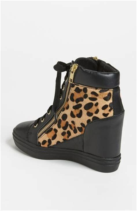 leopard sneaker wedges steve madden zipps wedge sneaker in black black leopard