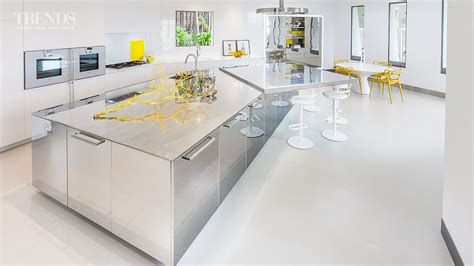 stainless steel kitchen island deductour com polished stainless steel kitchen in this house with large