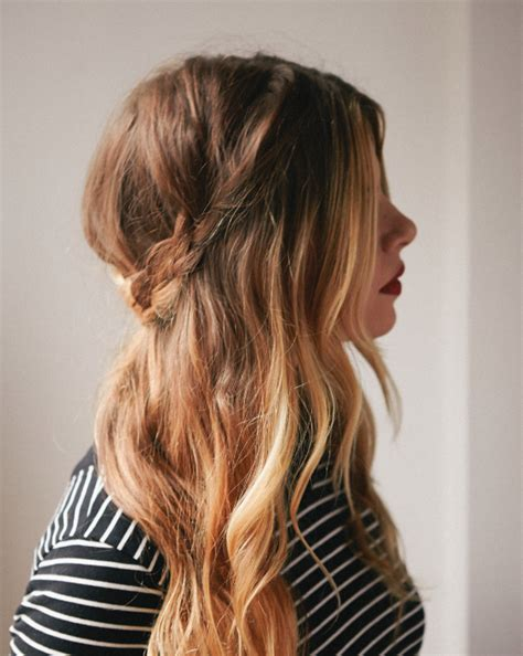 easy hairstyles for short unwashed hair half up braided crown a cup of jo