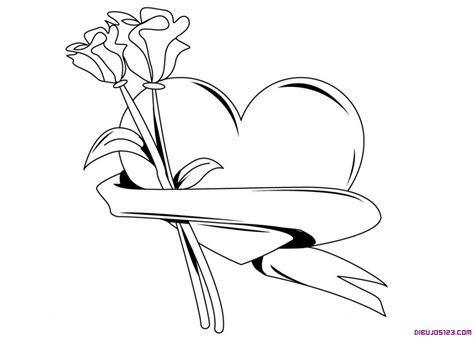imagenes de rosas y corazones para colorear corazon y rosas para colorear