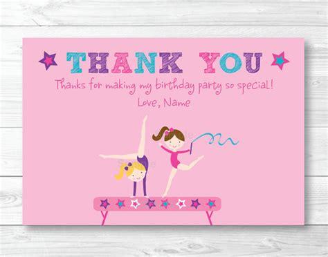 girls gymnastics thank you card folded card template pink gymnastics thank you card gymnastics girl thank you