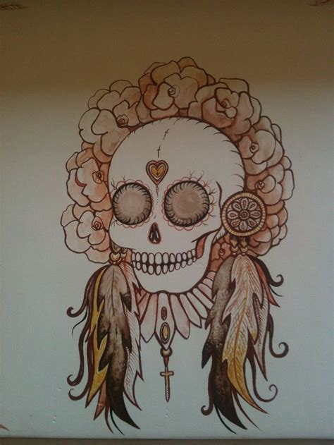 native indian skull with flower head dress amp feathers by