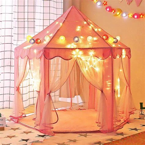 play tent house pink princess castle play house children netting