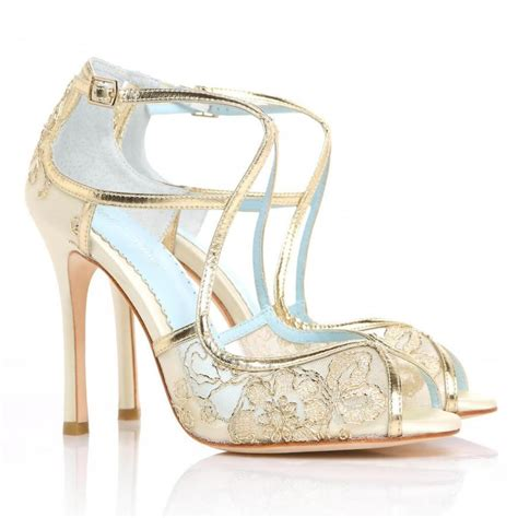 Gold Bridal Shoes by Wedding Shoes Gold Embroidered Lace And Ivory Silk Criss