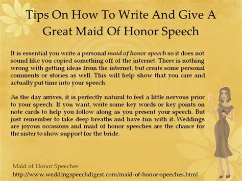 Sle Of Honor Speech sle of honor speeches and sweet 1000 images about of
