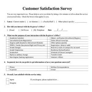 Customer Service Survey Questions Template by 10 Customer Satisfaction Survey Templates Free Sle