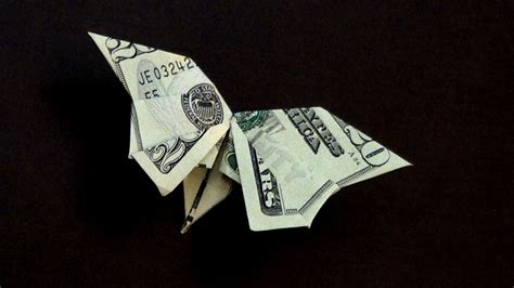 Money Origami - dollar origami butterfly tutorial how to make a dollar