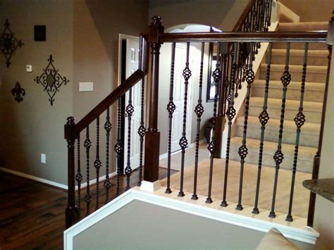 stair banister spindles iron balusters double basket stair wrought iron baluster