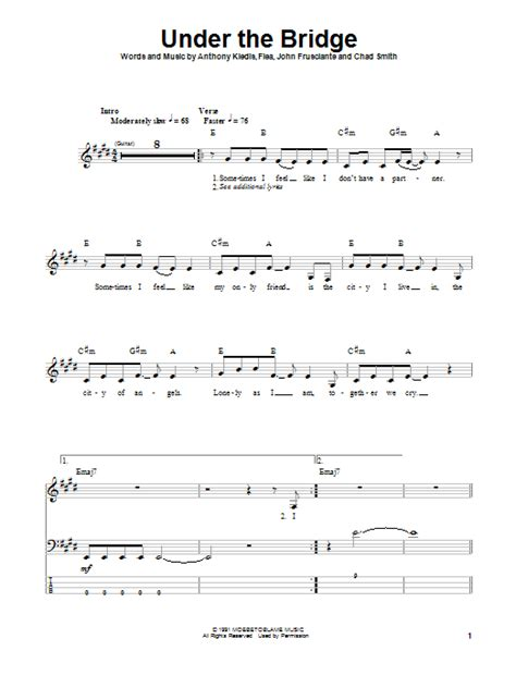 under the bridge sheet music by red hot chili peppers under the bridge bass guitar tab by red hot chili peppers