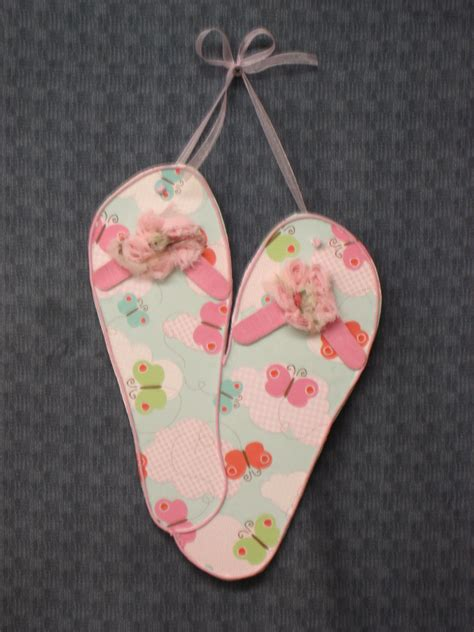 wooden flip flops summer home decor by kraftylady20 on etsy