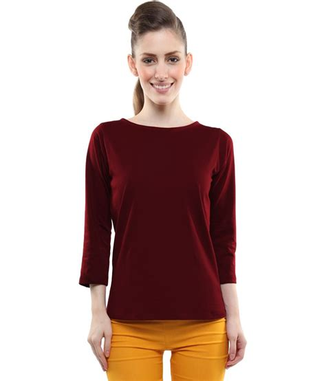 Miss Maroon India miss maroon cotton tops for quarter sleeve