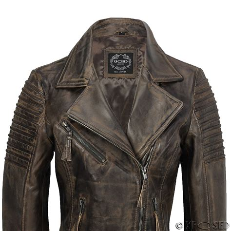 real leather biker womens vintage slim fitted soft real leather ladies biker
