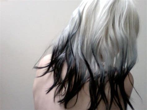 hair technique reverse frosting grey hair platinum hair with black tips ombre hair pinterest