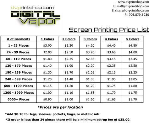 poster design how much to charge screen printing pricing digital vapor printing