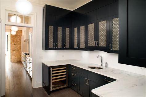 black  white butler pantry  metal lattice cabinet