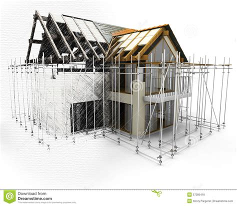 3d House Sketch 3d render of a house with scaffolding with half in sketch