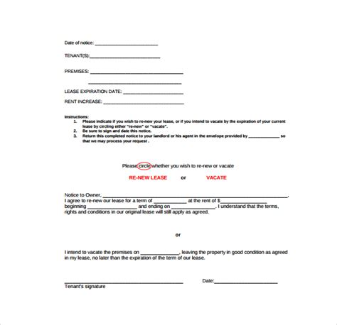 Lease Renewal Letter Qld Sle Rental Renewal Form 10 Free Documents In Pdf Word