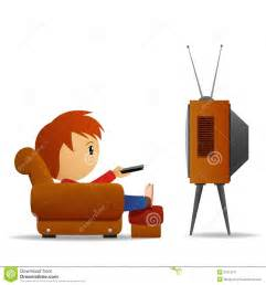 Cartoon man with remote watch tv in armchair vector illustration