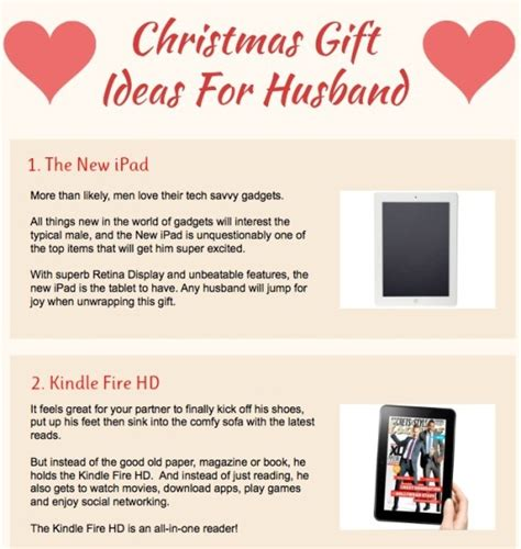 best christmas gift to my husband top 5 gift ideas infographics