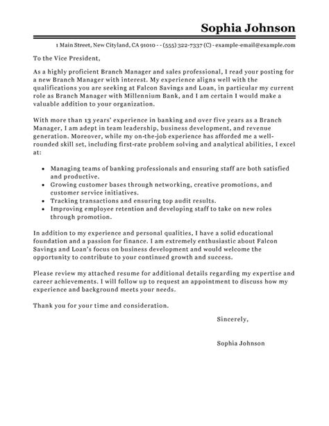 leading professional branch manager cover letter exles