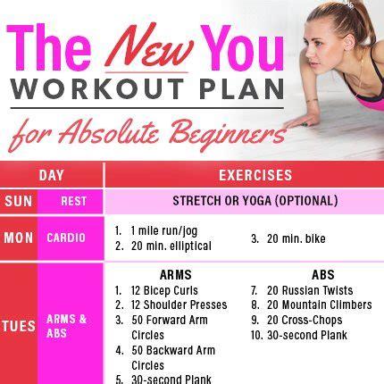 workout plan  absolute beginners calendar