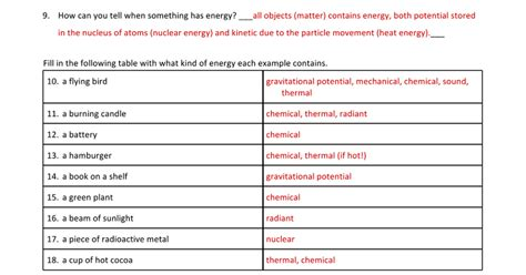 Types Of Energy Worksheet Answers by Answers Energy Types And Transformations Worksheets