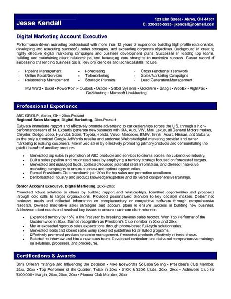 Automotive Account Executive Sle Resume by Marketing Account Executive Resume Learn More About