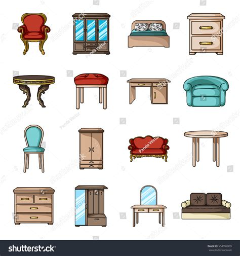 Home Interior Vector Furniture Home Interior Set Icons Stock Vector 554092009