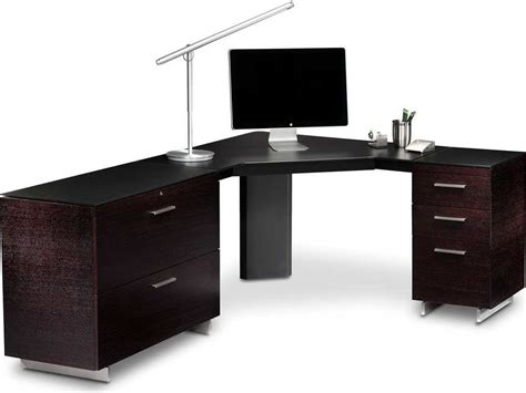 Black Computer Desk With Drawers Bdi Sequel 96 X 43 Black Corner Computer Desk With Keyboard Drawer 6019set