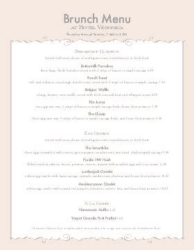 Breakfast Menu Template Musthavemenus Brunch Menu Template
